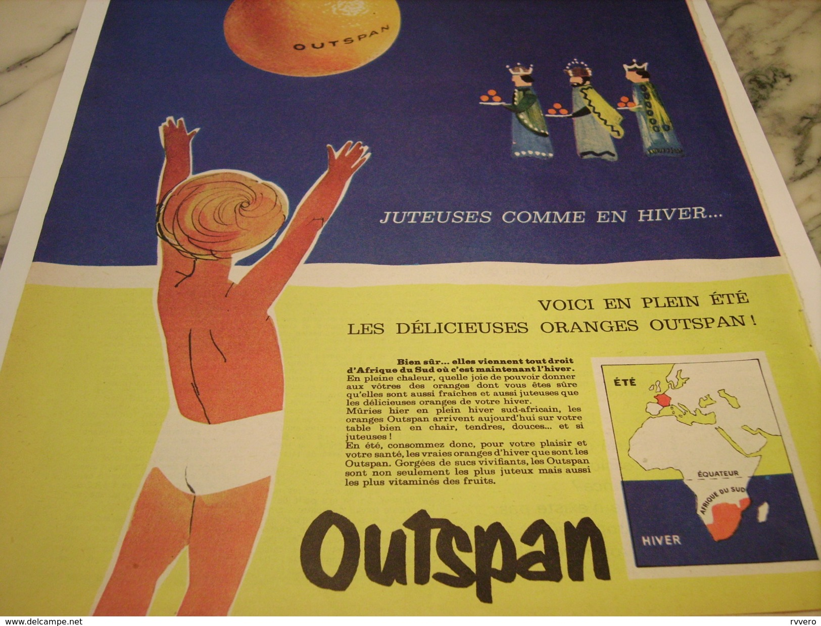 ANCIENNE PUBLICITE ORANGE JUSTEUSE  OUTSPAN 1961 - Posters