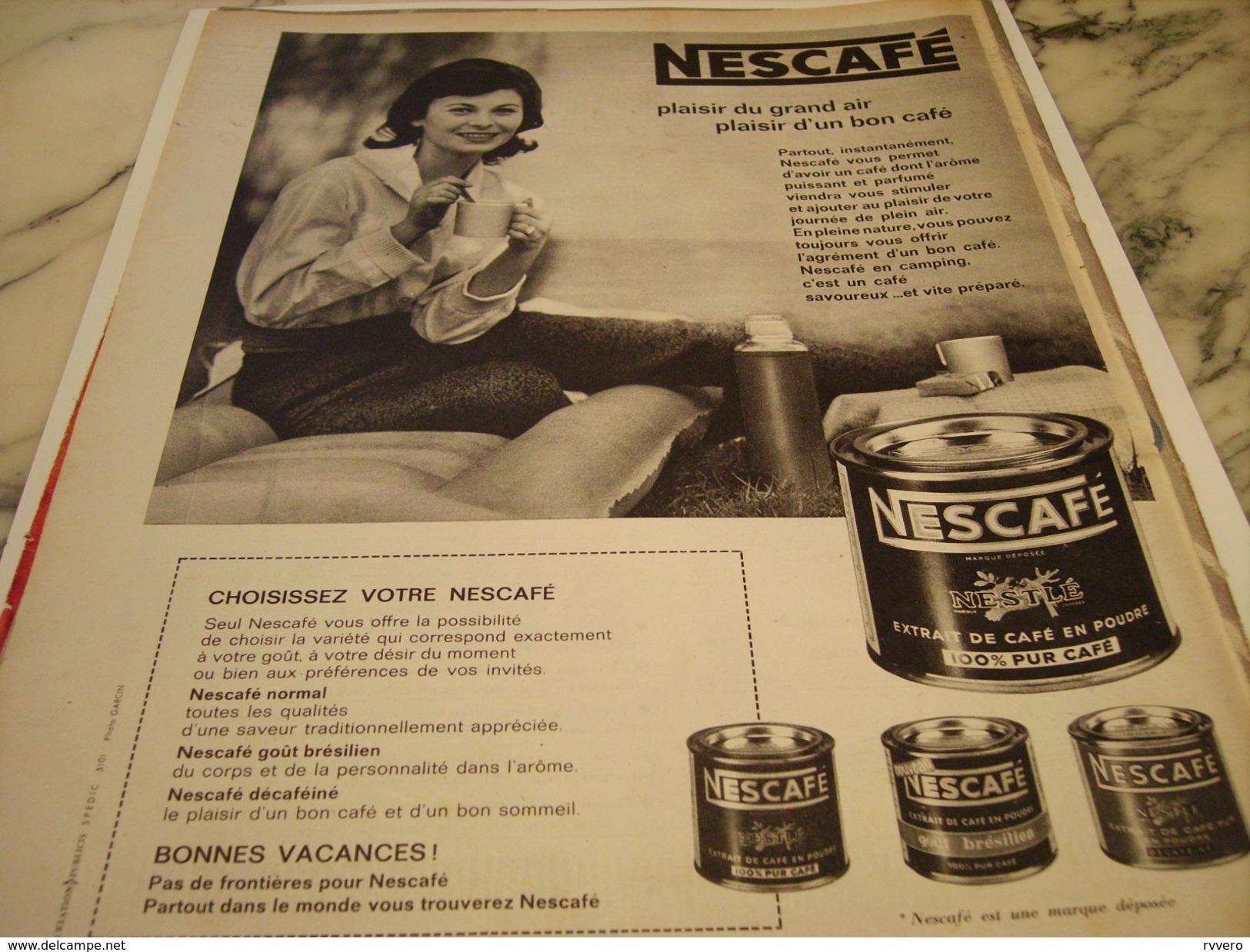 ANCIENNE PUBLICITE PLAISIR D UN BON CAFE  NESCAFE 1960 - Posters