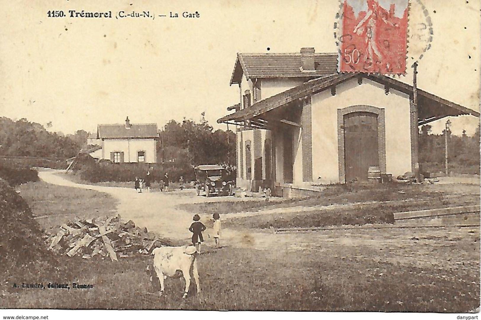 TREMOREL RARE CARTE INEDITE DE LA GARE ANIMEE 1916 EDIT. A. LAMIRE A RENNES SCAN RESTO VERSO - Autres Communes