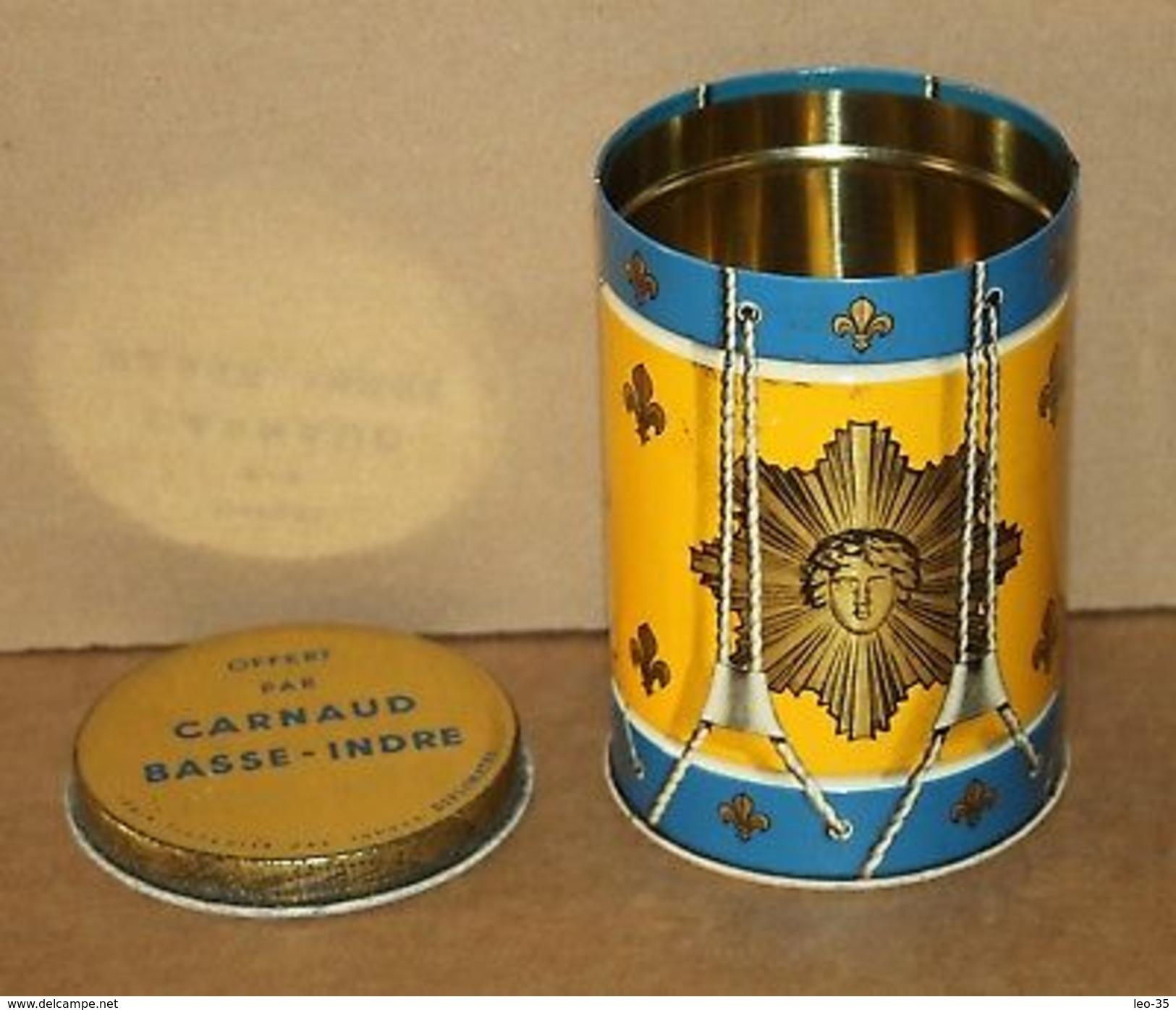 Ancienne Boite En Tôle Forme De Tambour Rois Soleil Fleur De Lys - Carnaud Tabac - Other Collections