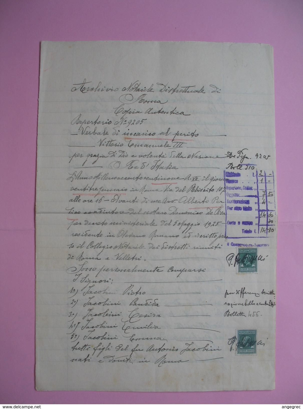 Arcivio Notarile  1971  Roma Document Avec Timbres Fiscaux  à Voir - Italie