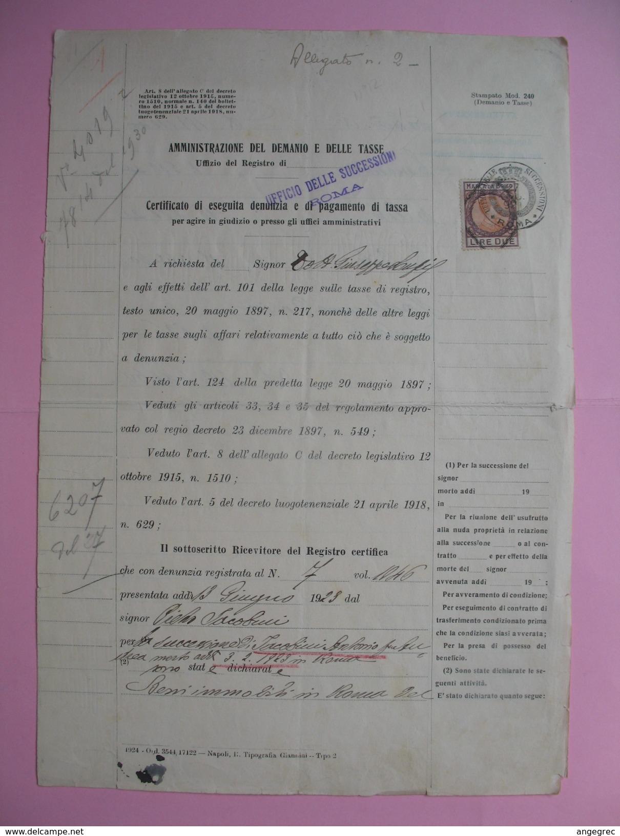 Ufficio Delle Succession  1923  Office Des Successions Avec Timbres Fiscaux  à Voir - Italie