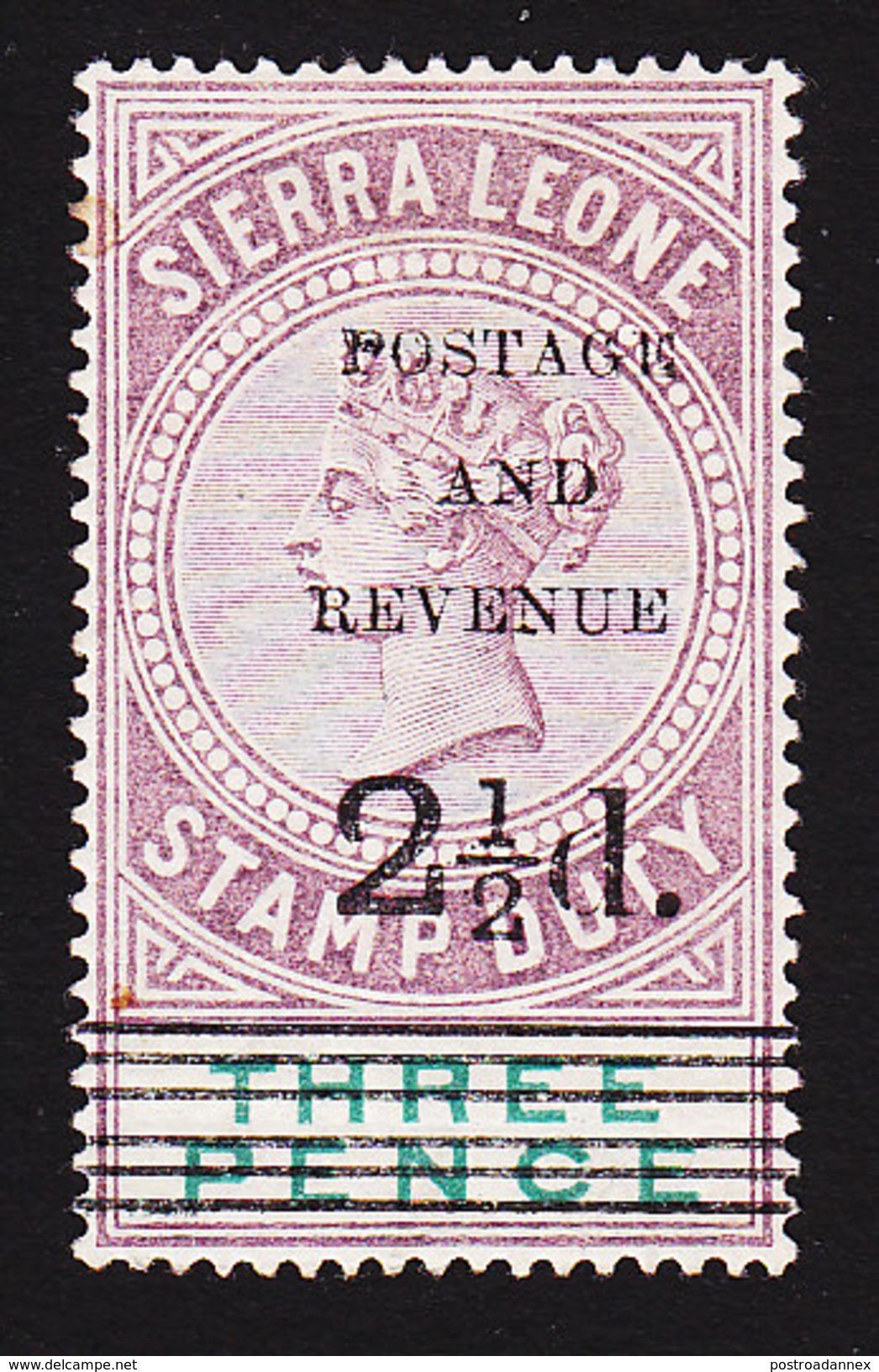 Sierra Leone, Scott #48, Mint Hinged, Queen Victoria Overprinted, Issued 1897 - Sierra Leone (...-1960)