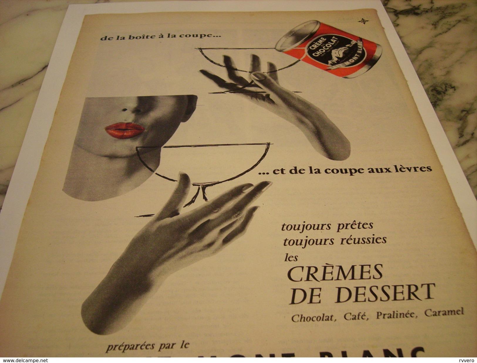 ANCIENNE PUBLICITE CREMES DE DESSERT  LAIT MONT BLANC 1956 - Posters