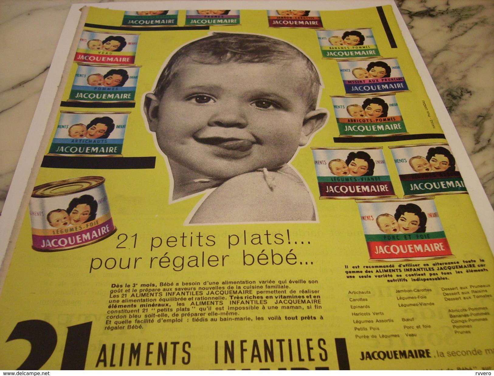 ANCIENNE PUBLICITE 21 REPAS INFANTILLES DE JACQUEMAIRE 1960 - Posters