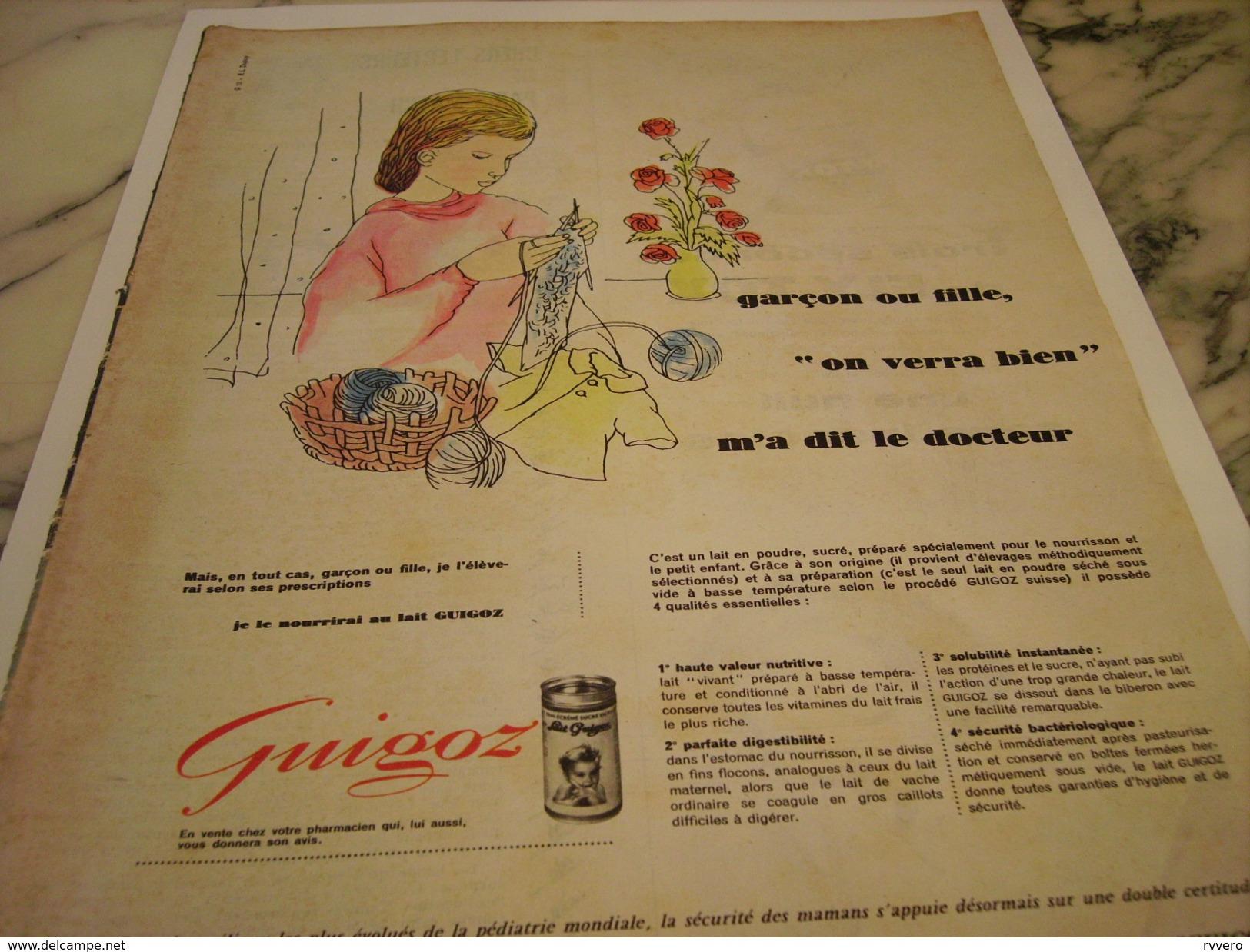 ANCIENNE PUBLICITE GARCON OU FILLE LAIT EN POUDRE GUIGOZ 1960 - Posters