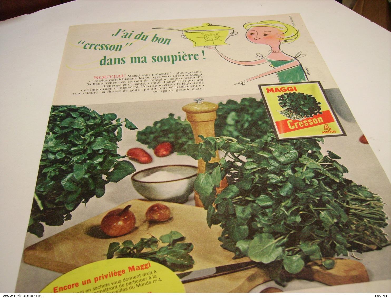 ANCIENNE AFFICHEPUBLICITE CRESSON DANS MA SOUPIERE  MAGGI 1958 - Advertising