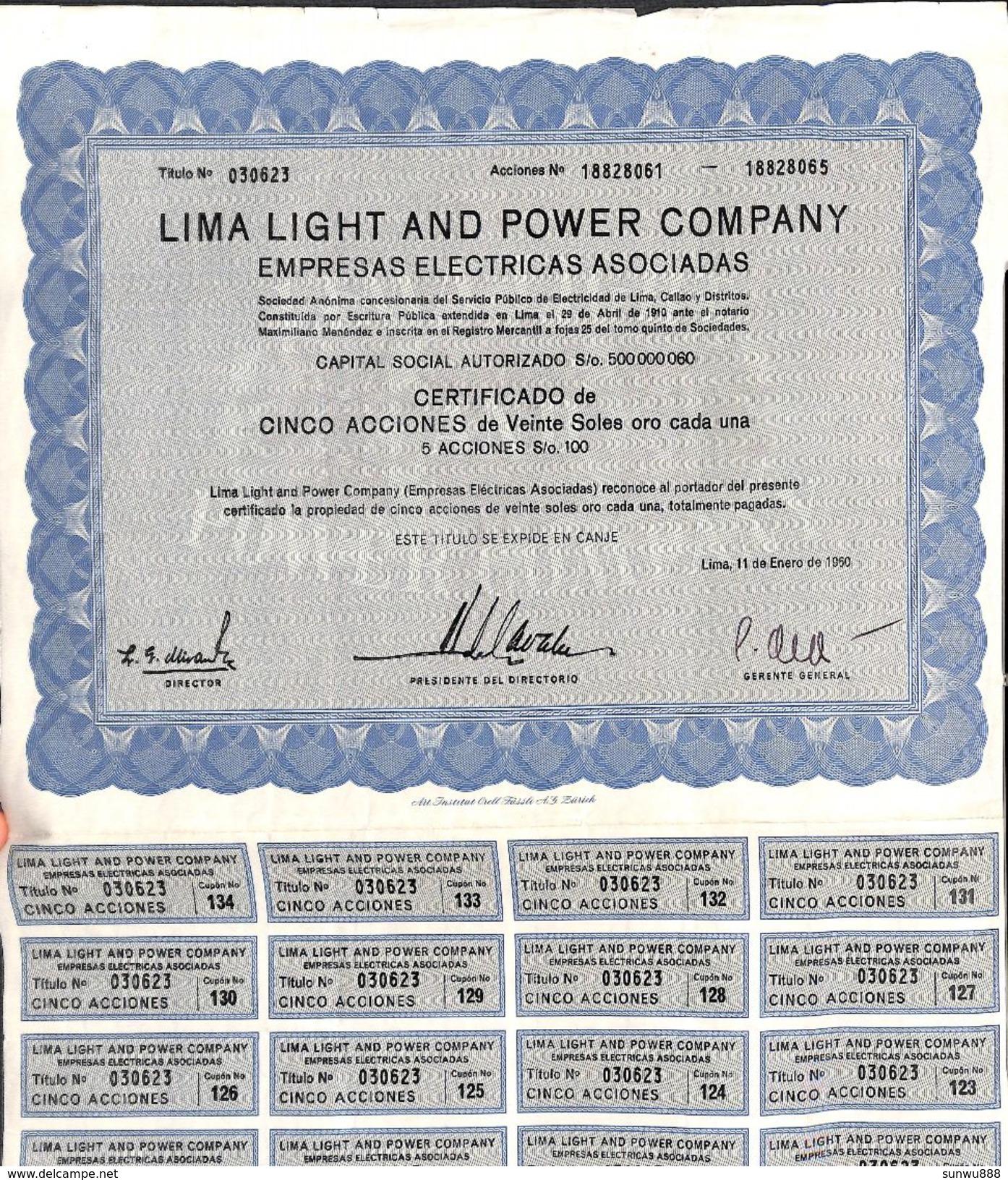 Lot 17 Titres - Lima Light & Power Company 1960 (1 5 10 50 Accion) - Electricité & Gaz