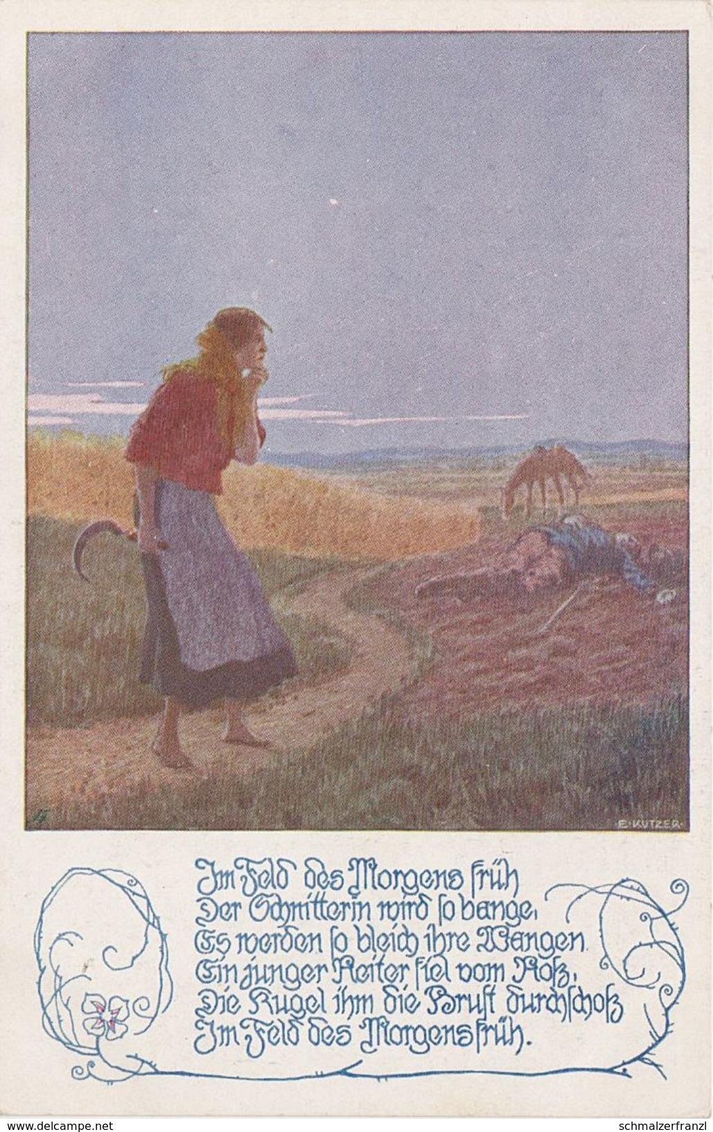 Künstlerkarte AK Im Feld Des Morgens Früh Spruch Vers Gedicht Ostmark Bund Deutscher Österreicher Nr. 137 Ernst Kutzer - Künstlerkarten
