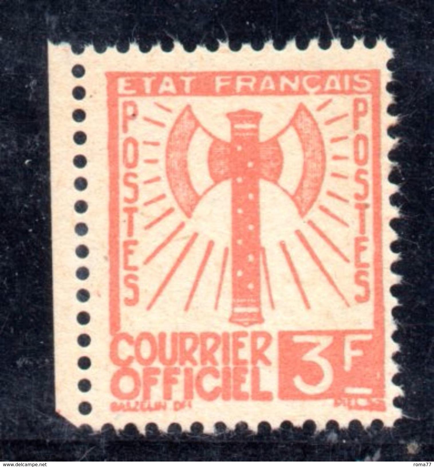 XP1582 - FRANCE Francia - 1943 - COURRIER OFFICIEL, Yvert  10 , 3 Franco Senza Gomma - Servizio