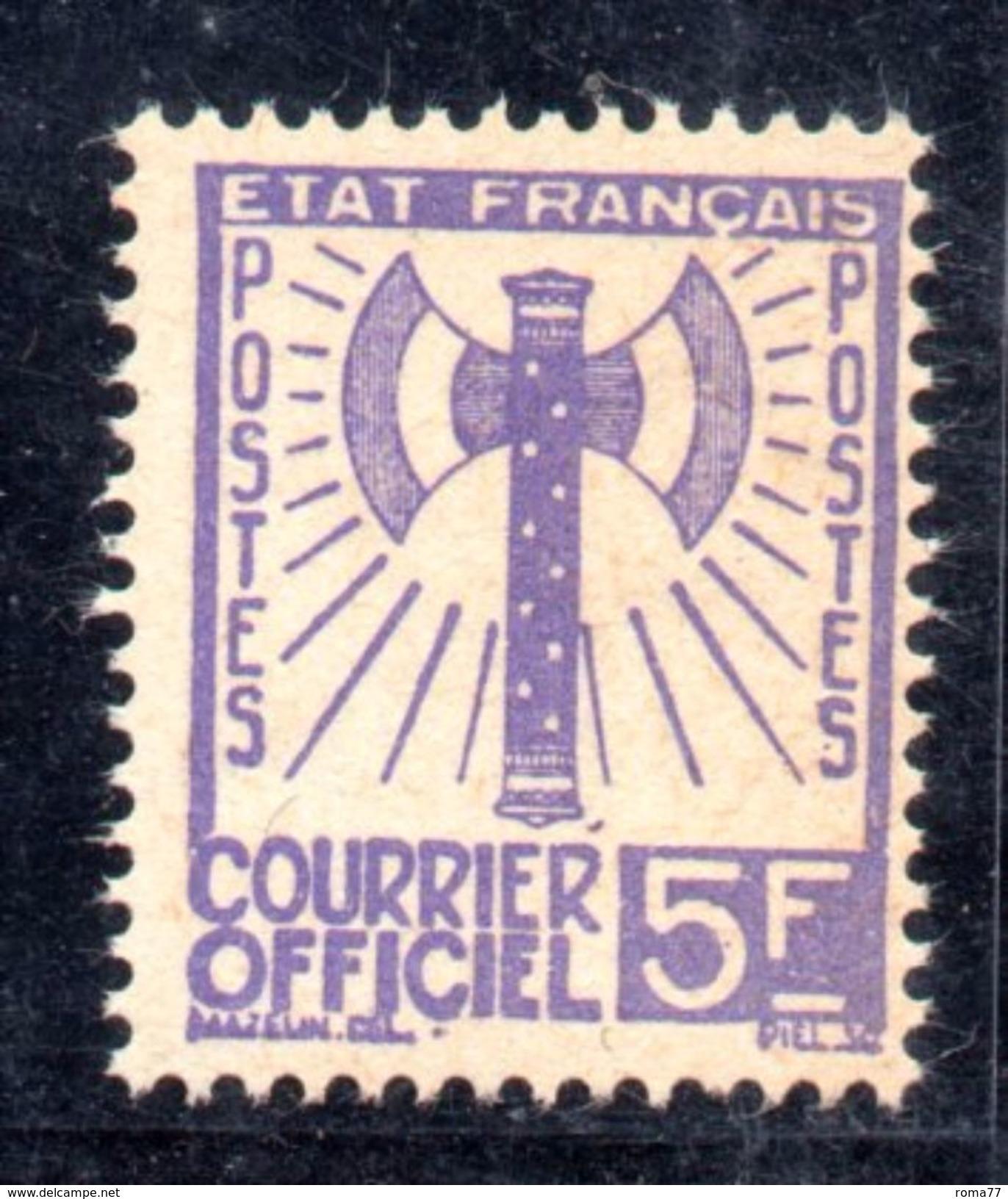 XP1583 - FRANCE Francia - 1943 - COURRIER OFFICIEL, Yvert  11 , 5 Franc *** MNH . - Servizio