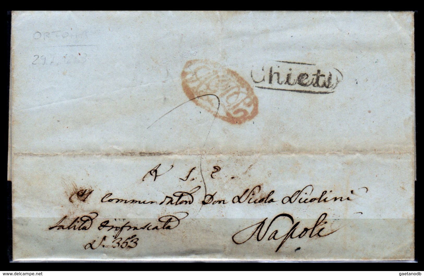 Chieti-00236i 1853 - Piego Con Testo, Recante L'impronta Del Bollo Ovoidale Con Dicitura Del 2° Tipo (Punti 10) - - Italia