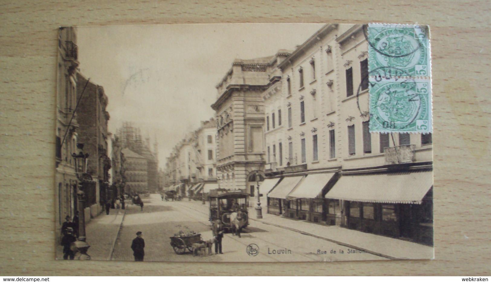 BELGIO BELGIQUE BELGE CARTE POSTALE DE LOUVIN TRAM A CAVALLI - Belgio