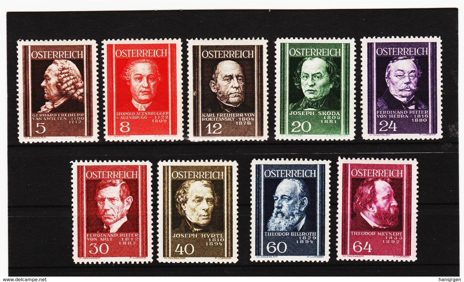 MAG1101 AUSTRIA ÖSTERREICH 1937 Michl  649/57  ** Postfrisch Siehe ABBILDUNG - Ungebraucht