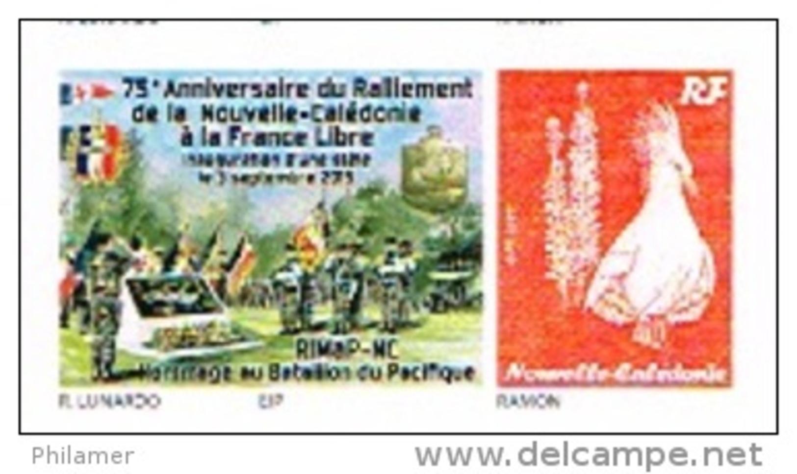 Nouvelle Caledonie France Timbre Personnalise Timbre A Moi Autocollant Prive Lunardo Ralliement Ffrance Libre Drapeau Un - Altri