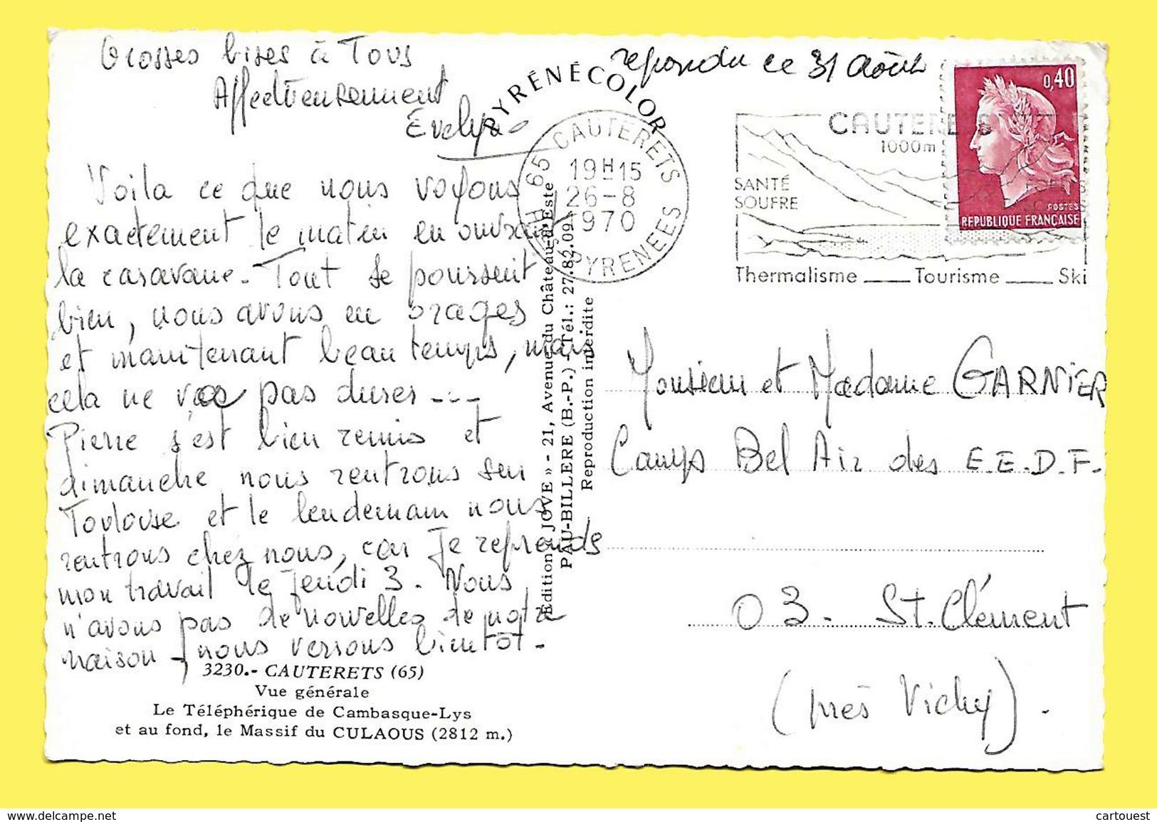 CPSM 65 CAUTERETS Vue Générale  Le Téléphérique De Cambasque - Lys , 1er Plan CAMPING  1970 - Cauterets