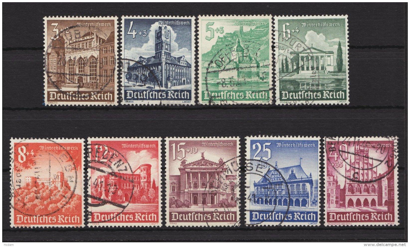 "751/9, ""WHW- Bauwerke"", 1940, Komplett, Sauber Gestempelt, O - Deutschland"