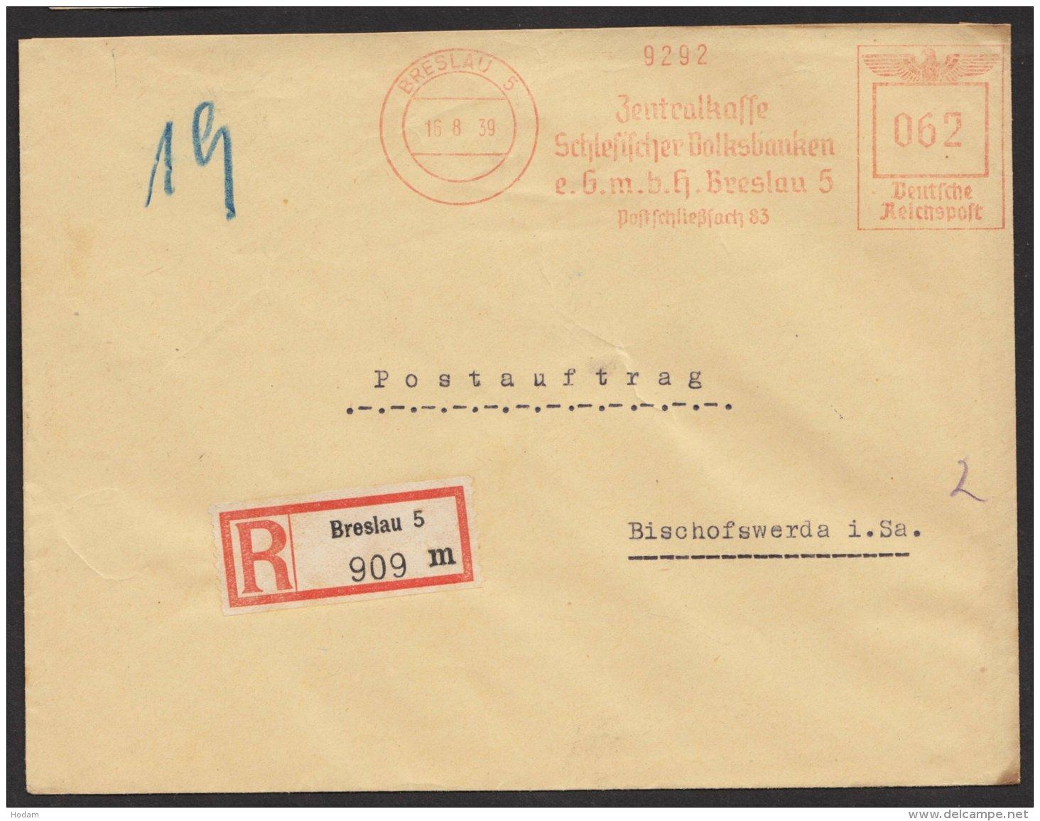 """""""Breslau"""", Schlesische Volksbank, Postauftrag, R- Brief, 1939, Seltener Tarif Zu 62 Pfennig - Briefe U. Dokumente"""