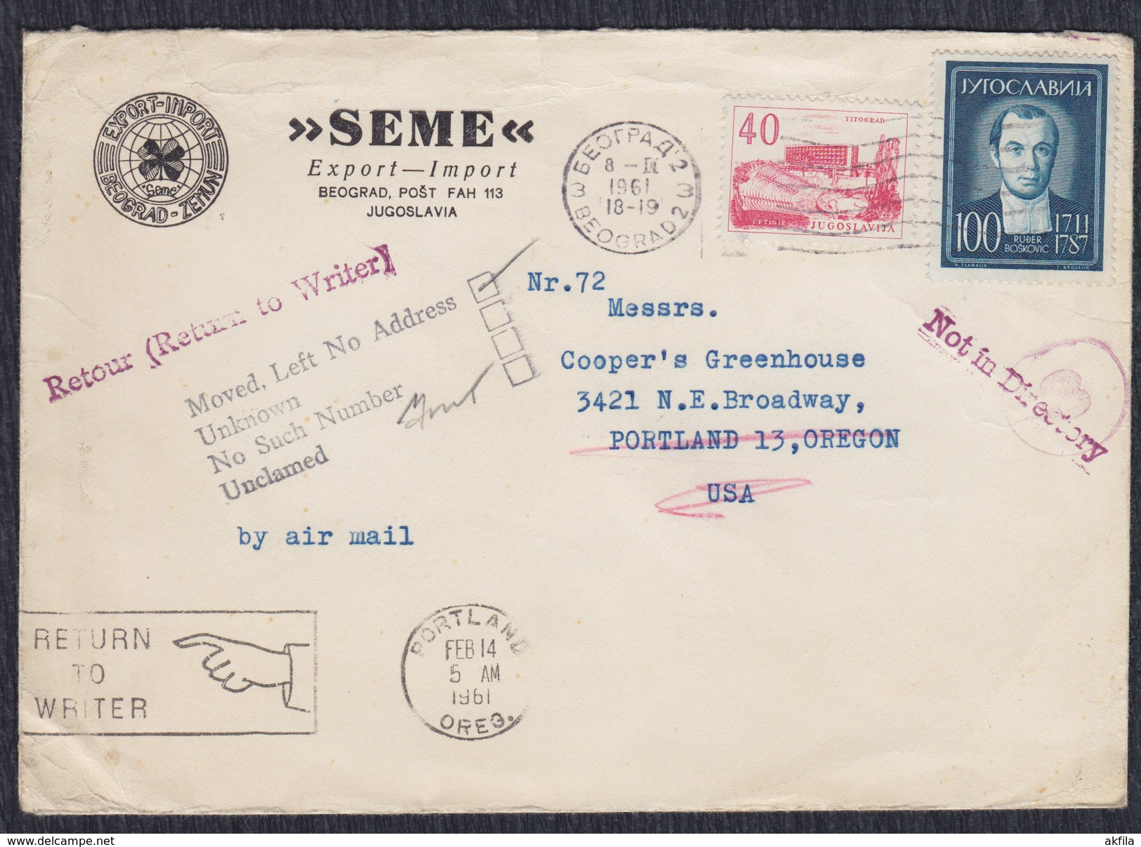Yugoslavia 1961 Astronomer Rudjer Boskovic, Letter Sent From Beograd To Portland (USA) - 1945-1992 Sozialistische Föderative Republik Jugoslawien