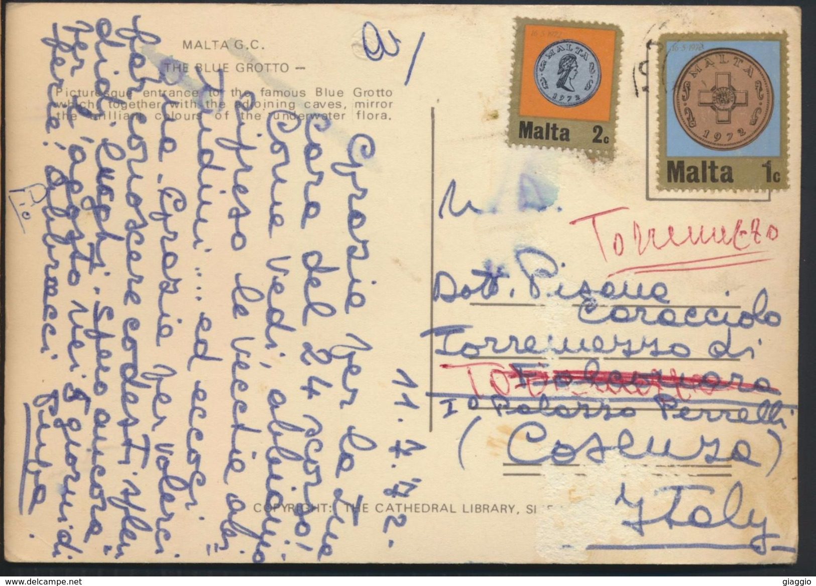 °°° 6526 - MALTA - THE BLUE GROTTO - 1972 With Stamps °°° - Malta