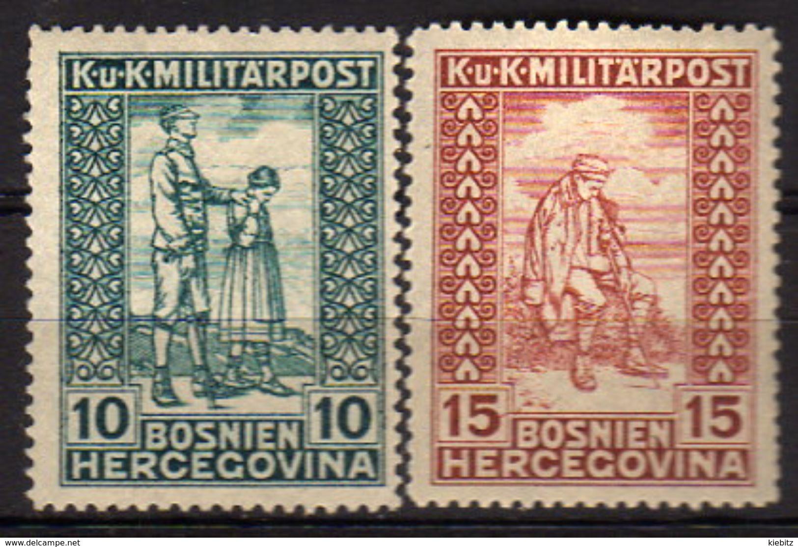 ÖSTERREICH Bosnien&Herzegowina 1916 - MiNr: 97-98  * / MLH - Oostenrijkse Levant