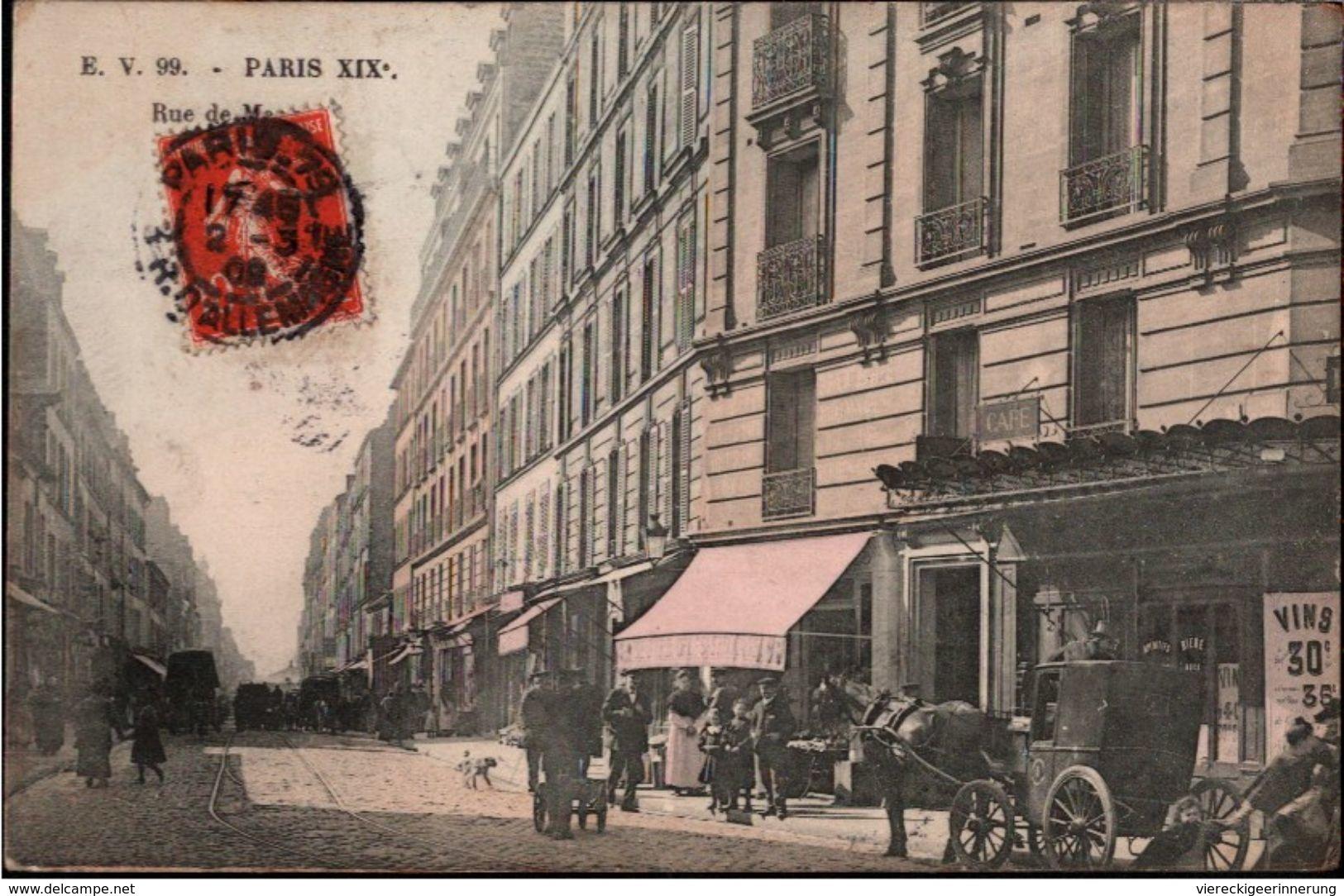 ! Old Postcard, Paris XIX Rue De Meaux, Arrondissement 19, 1908, Commerce - Arrondissement: 19