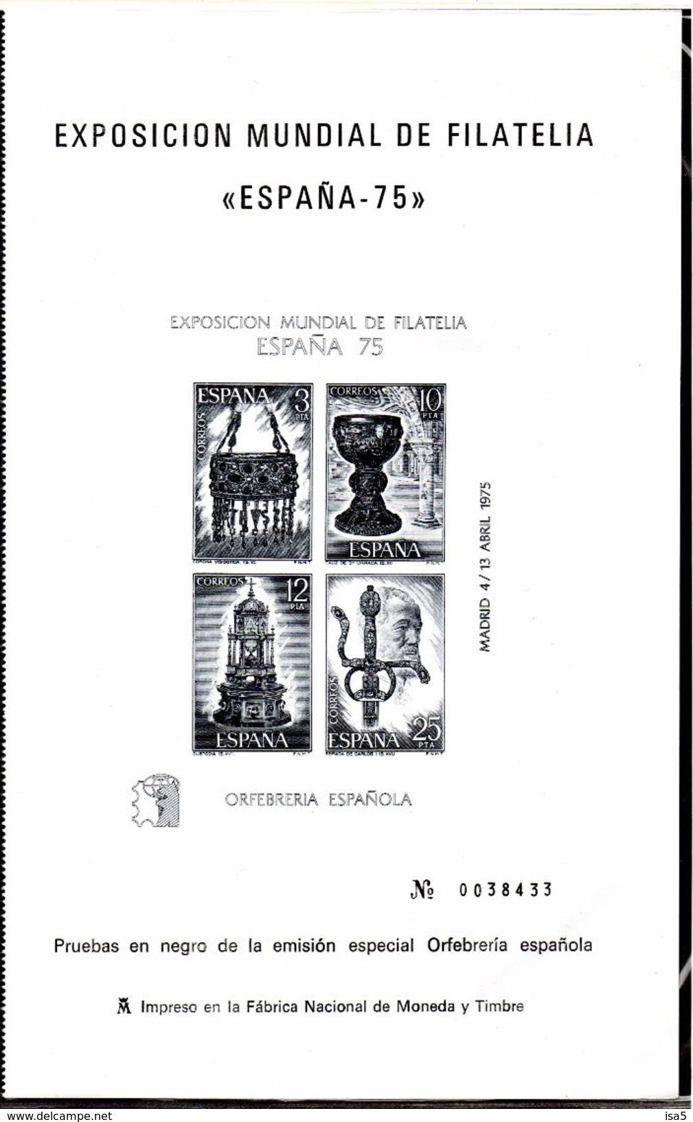 ESPAGNE - 1975 - Bloc 20 - Impression En Noir - - Blocs & Feuillets