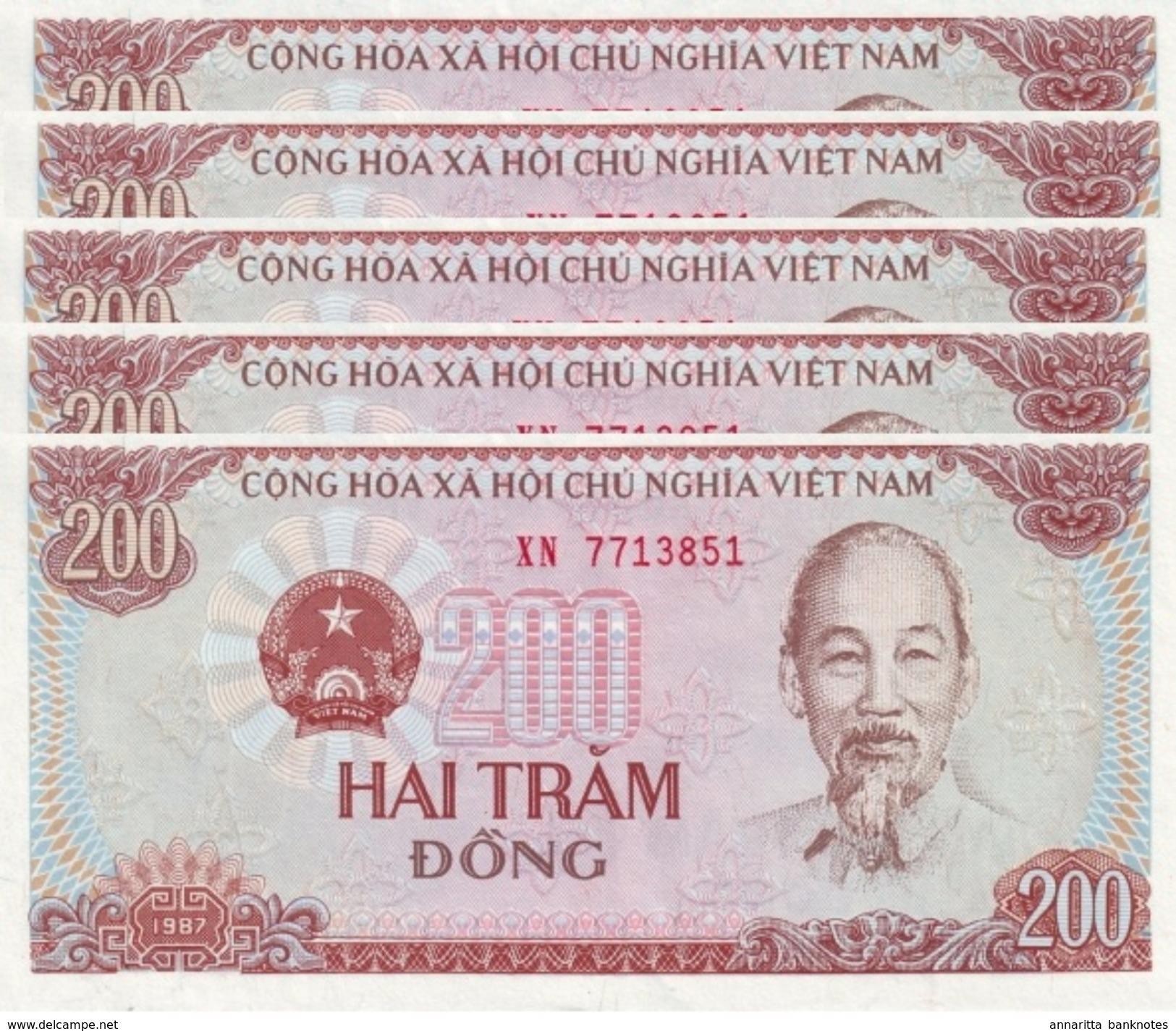 VIETNAM 200 DONG 1987 P-100a UNC SMALL SERIAL S/N 5 PCS [VN328a] - Vietnam