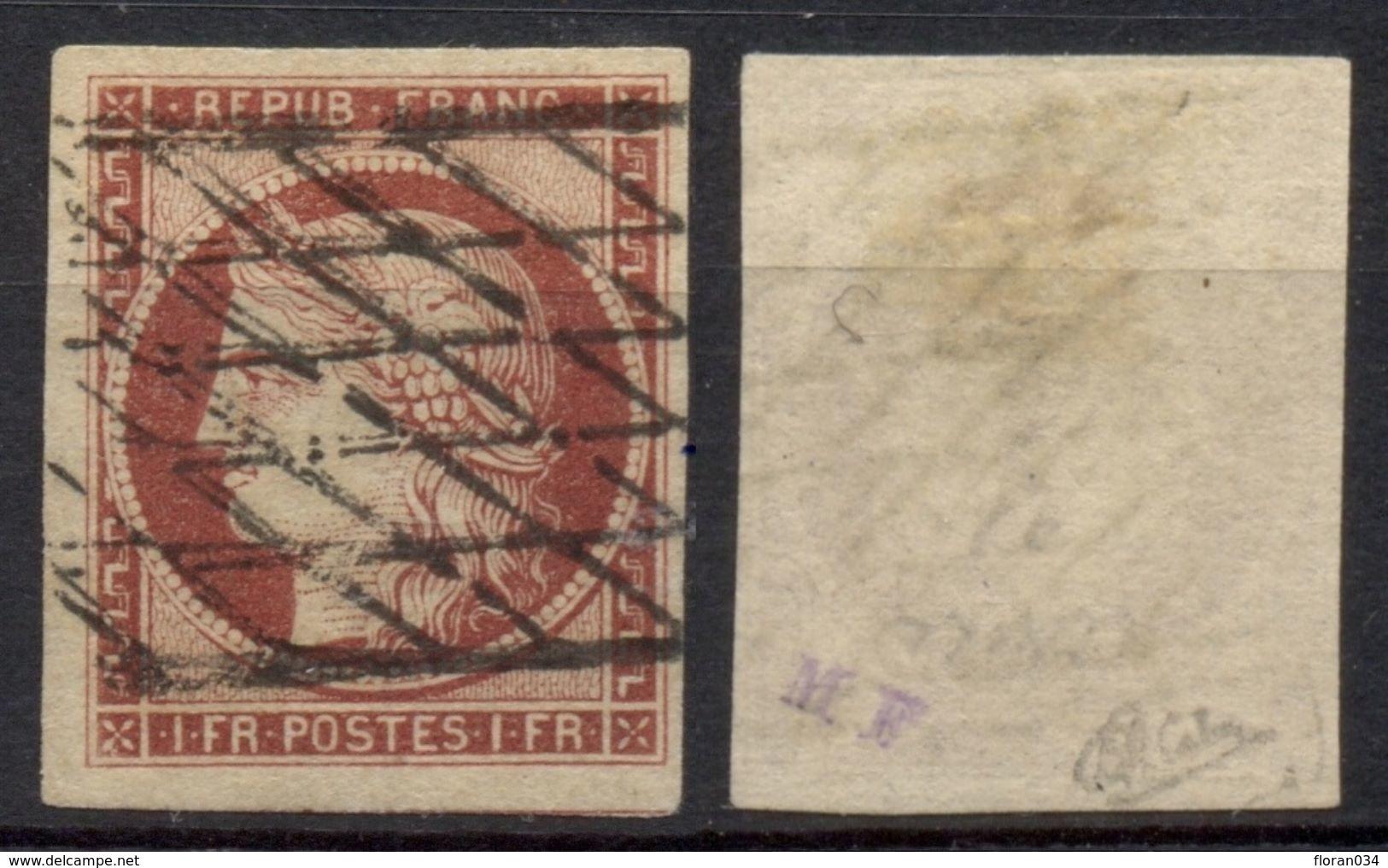 France N° 6 Obl. Grille S/fin - Signé Calves - Cote 1100 Euros - Superbe - 1849-1850 Ceres