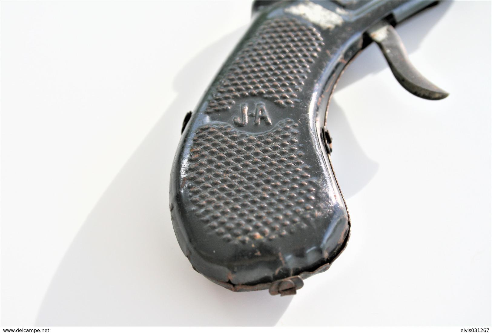 Vintage TOY GUN : J.A L'ADHERENT - L=17cm - 1930s - Keywords : Cap Gun - Cork Gun - Rifle - Revolver - Pistol - Tin - Decotatieve Wapens