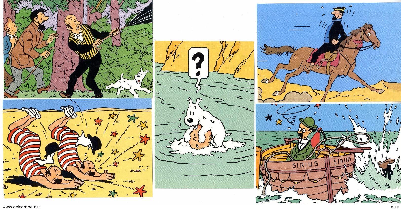 TINTIN  HERGE  LOT 5 CPM   -  SERIE Q8   EDITIONS DU LOMBARD 1988 - Stripverhalen