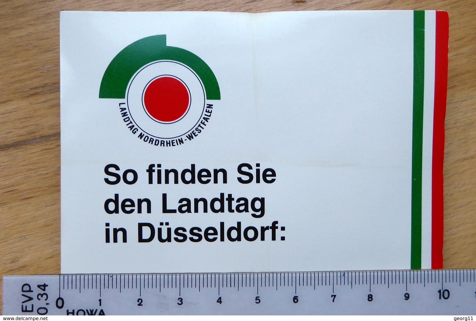 Düsseldorf Stadtplan, Kleiner Faltplan, Werbung Landtag NRW - Maps Of The World
