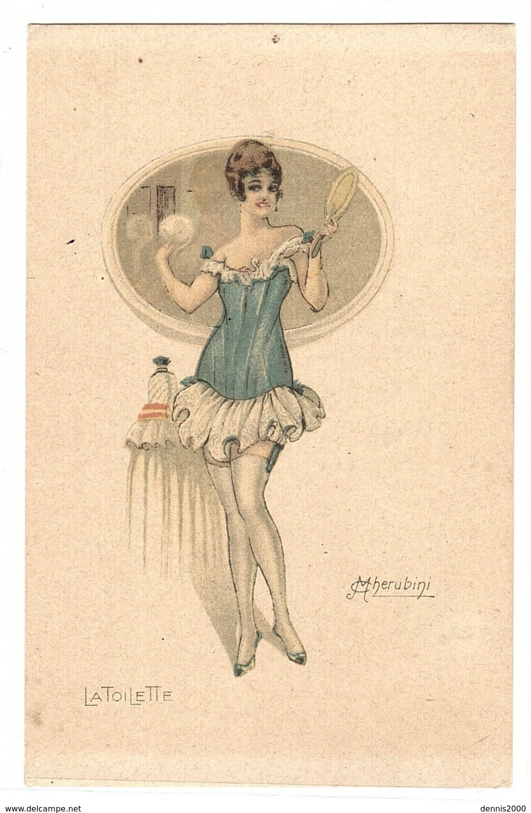 Illustrateur M. CHERUBINI - FEMME - MODE - EROTISME - WOMAN - FASHION - LA TOILETTE - Stampa Milano 3686 - 959/2 - Women