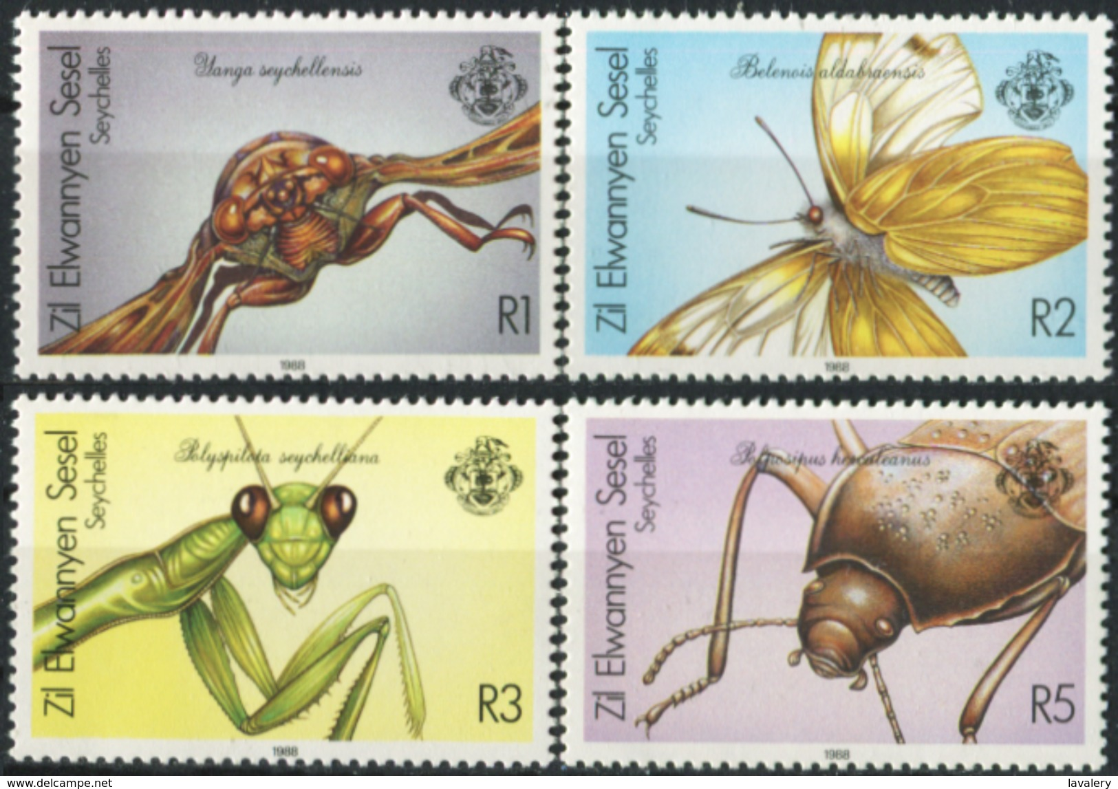 SEYCHELLES 1988 Zil Elwannyen Sesel, Insects, Butterfly, Fauna MNH - Seychelles (1976-...)