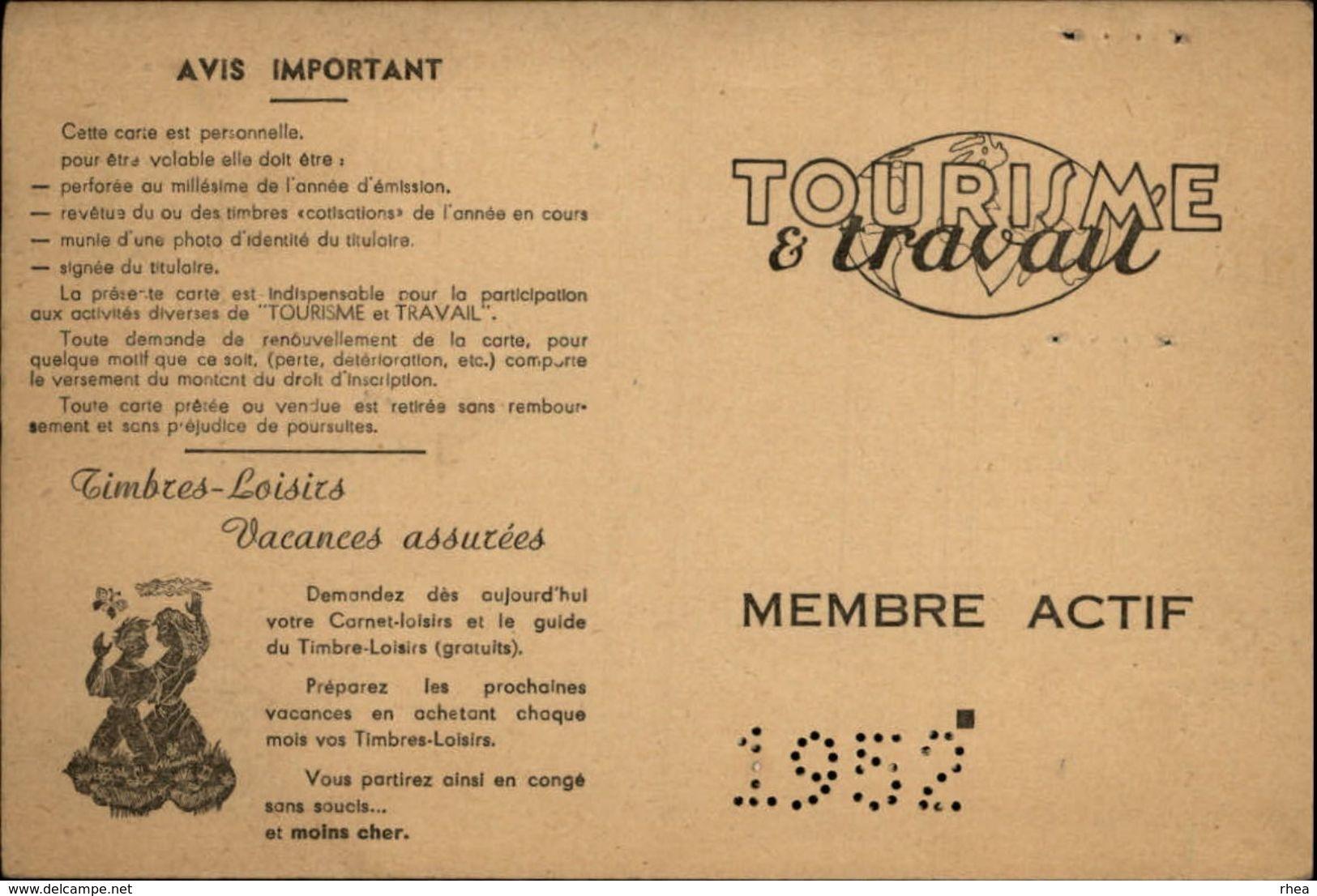 CARTE Timbres-Loisirs - Tourisme Et Travail - Vieux Papiers