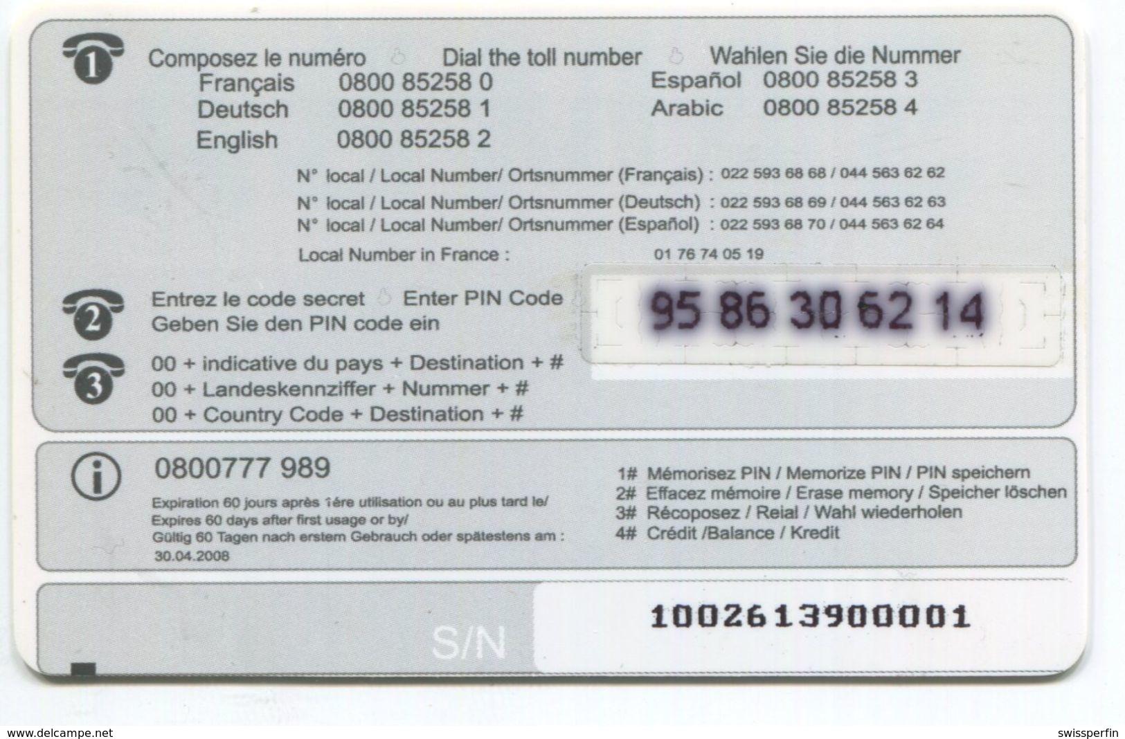 1663 - SAMBA 10 CHF Prepaid Telefonkarte - Suisse