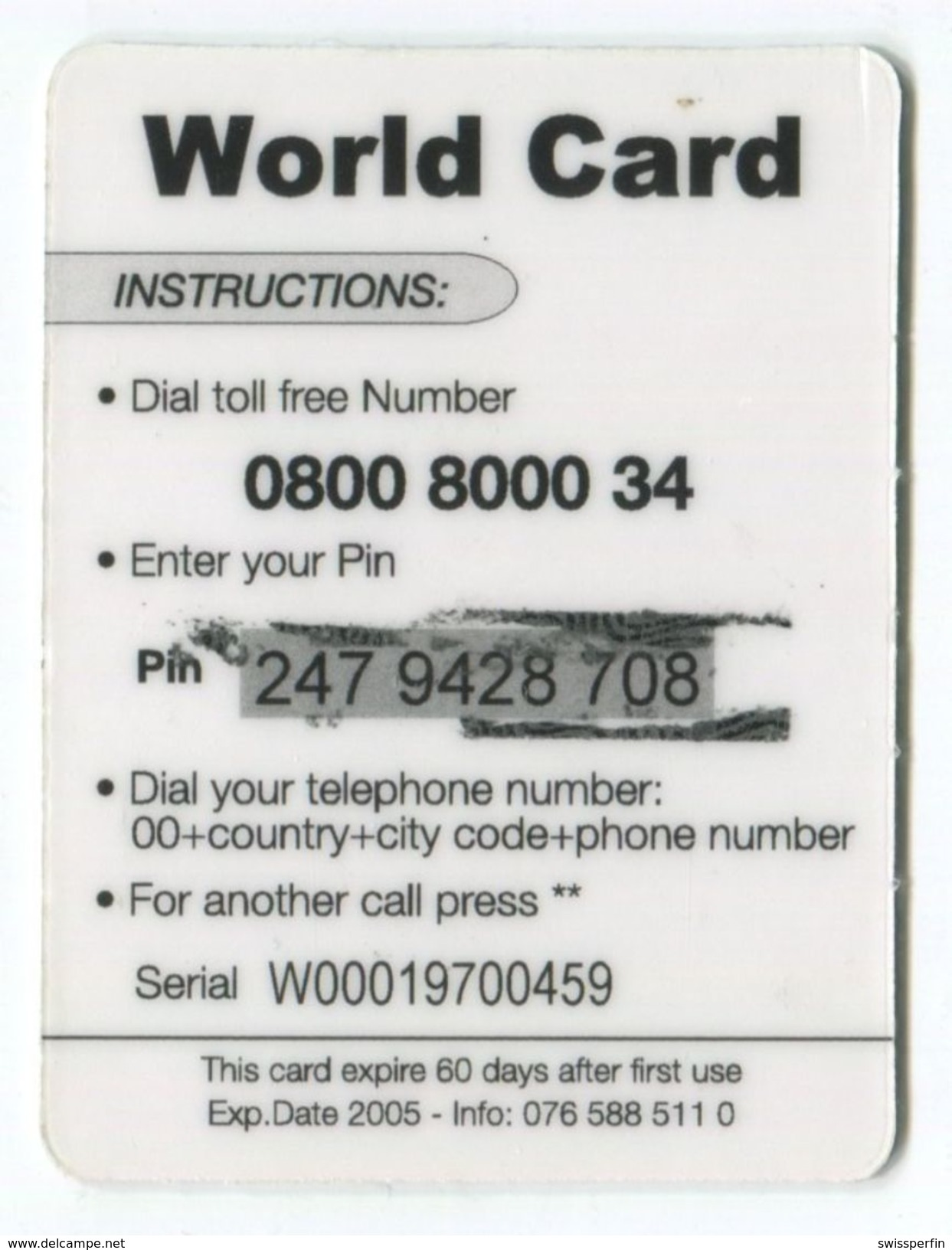 1667 - World Card 10 CHF Mini Telefonkarte - Suisse