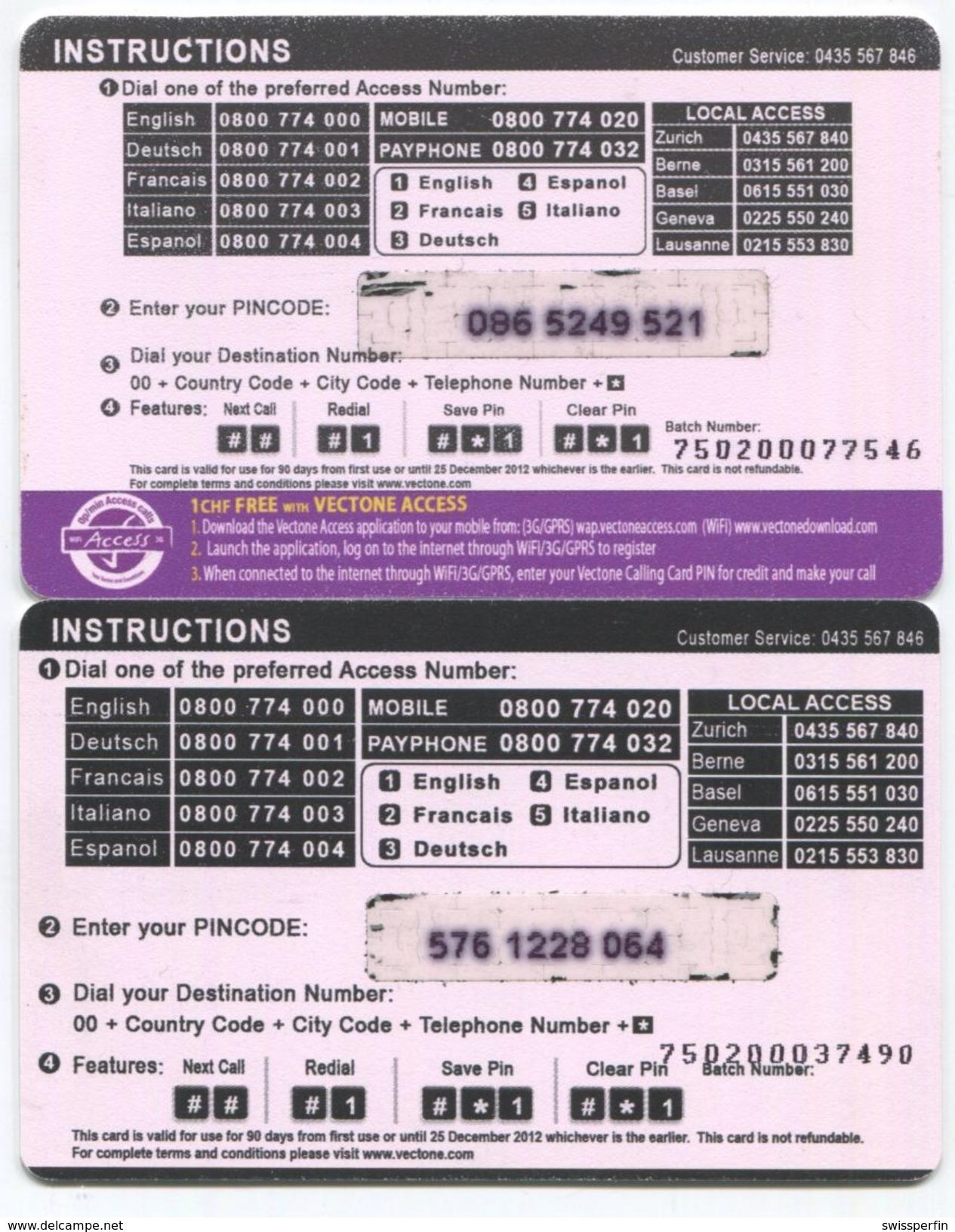 1668 - Home 5 Und 10 CHF Prepaid Telefonkarten Serie - Schweiz