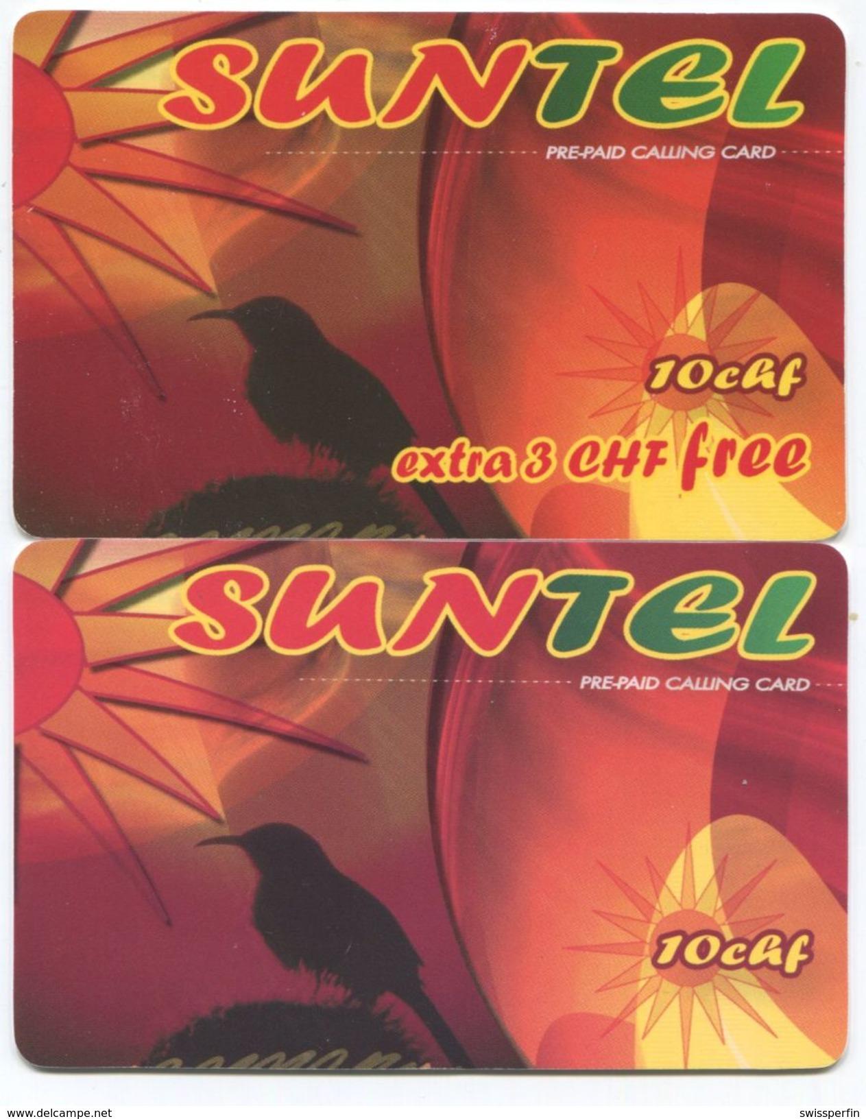 1673 - SUNTEL 10 Und 10+3 CHF Prepaid Telefonkarten - Schweiz