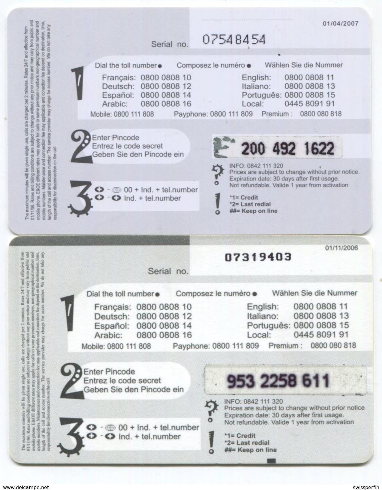 1674 - Service Clientele 7/7 2 X 10 CHF Prepaid Telefonkarten - Suisse