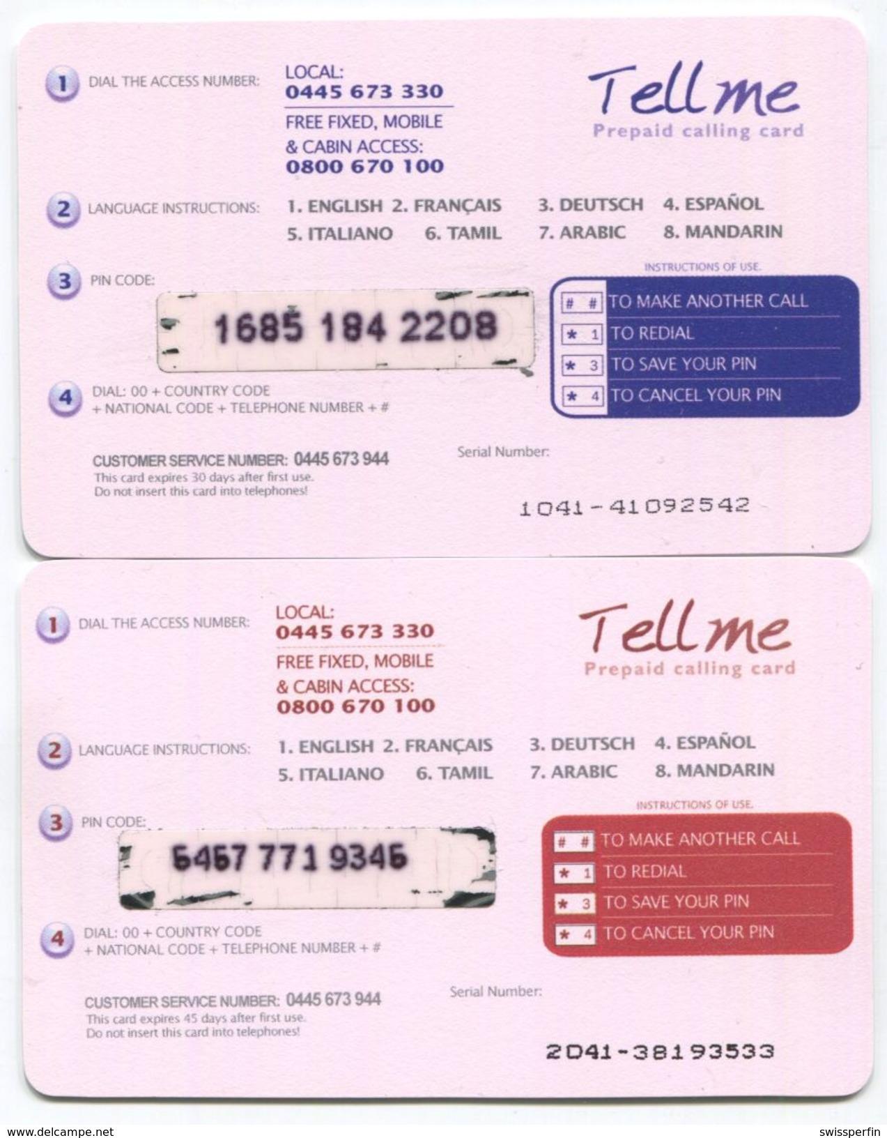 1675 - Tell Me 10 Und 20 CHF Prepaid Telefonkarten - Suisse