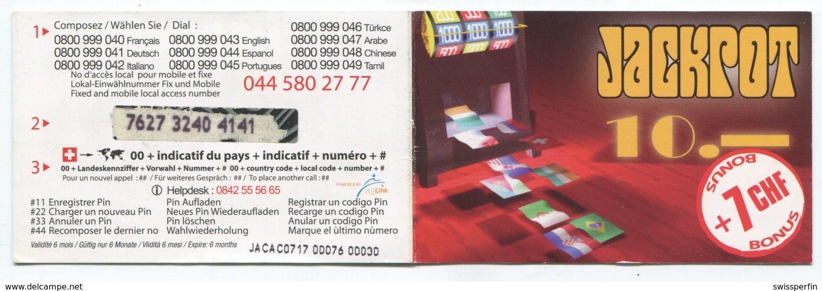 1678 - JACKPOT 10+7 CHF Prepaid Telefonkarte - Schweiz