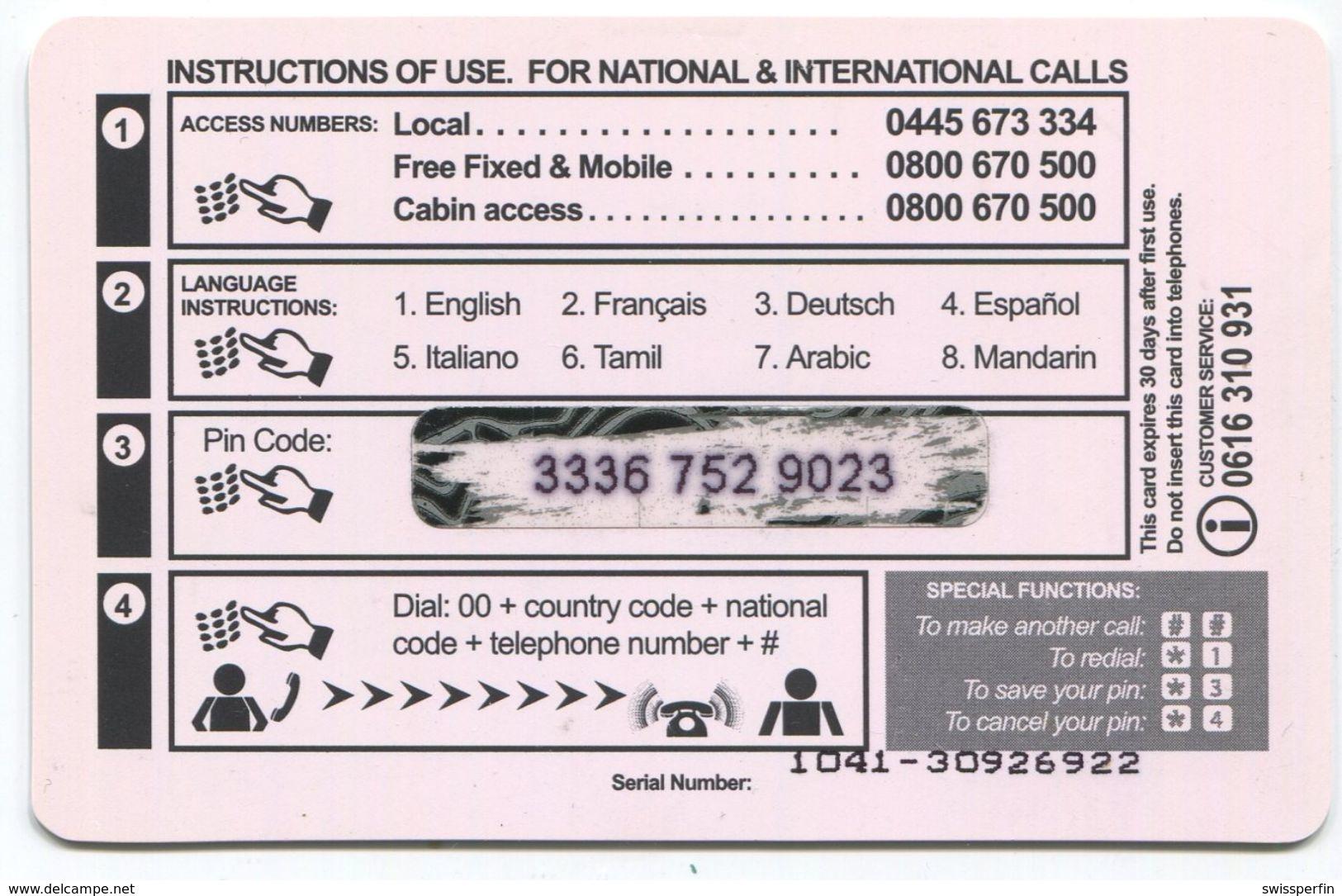 1687 - Mega Bell 10 CHF Prepaid Telefonkarte - Schweiz