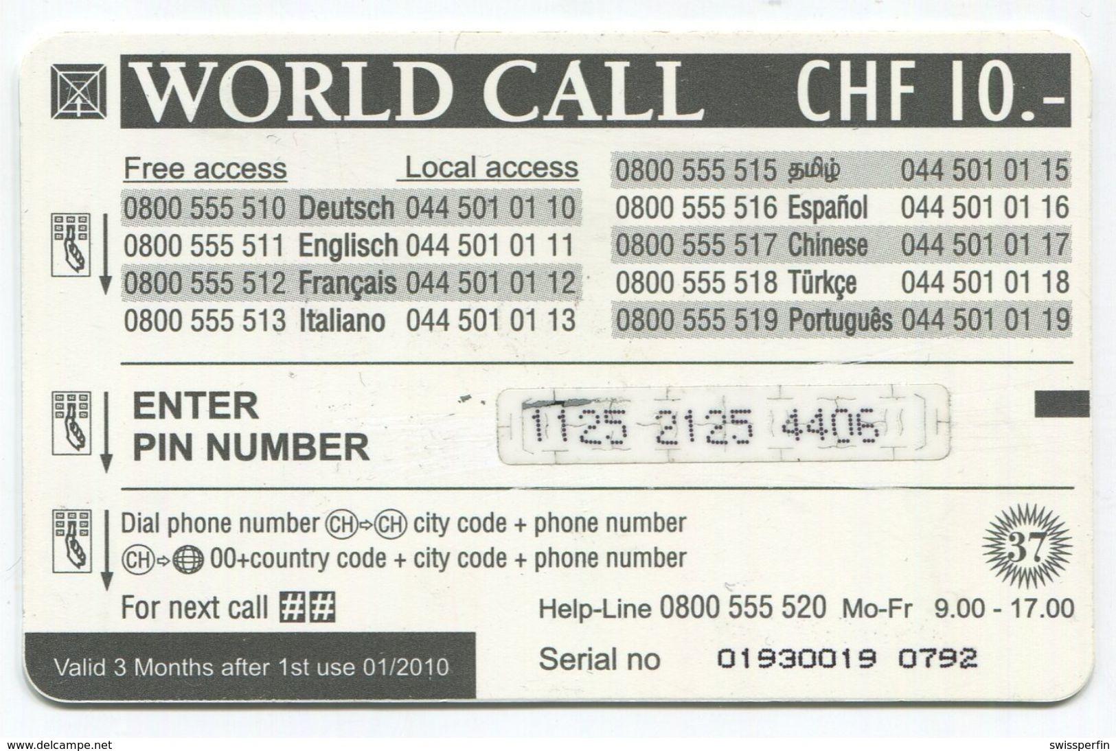 1694 - World Call CHF 10.- Prepaid Telefonkarte - Schweiz