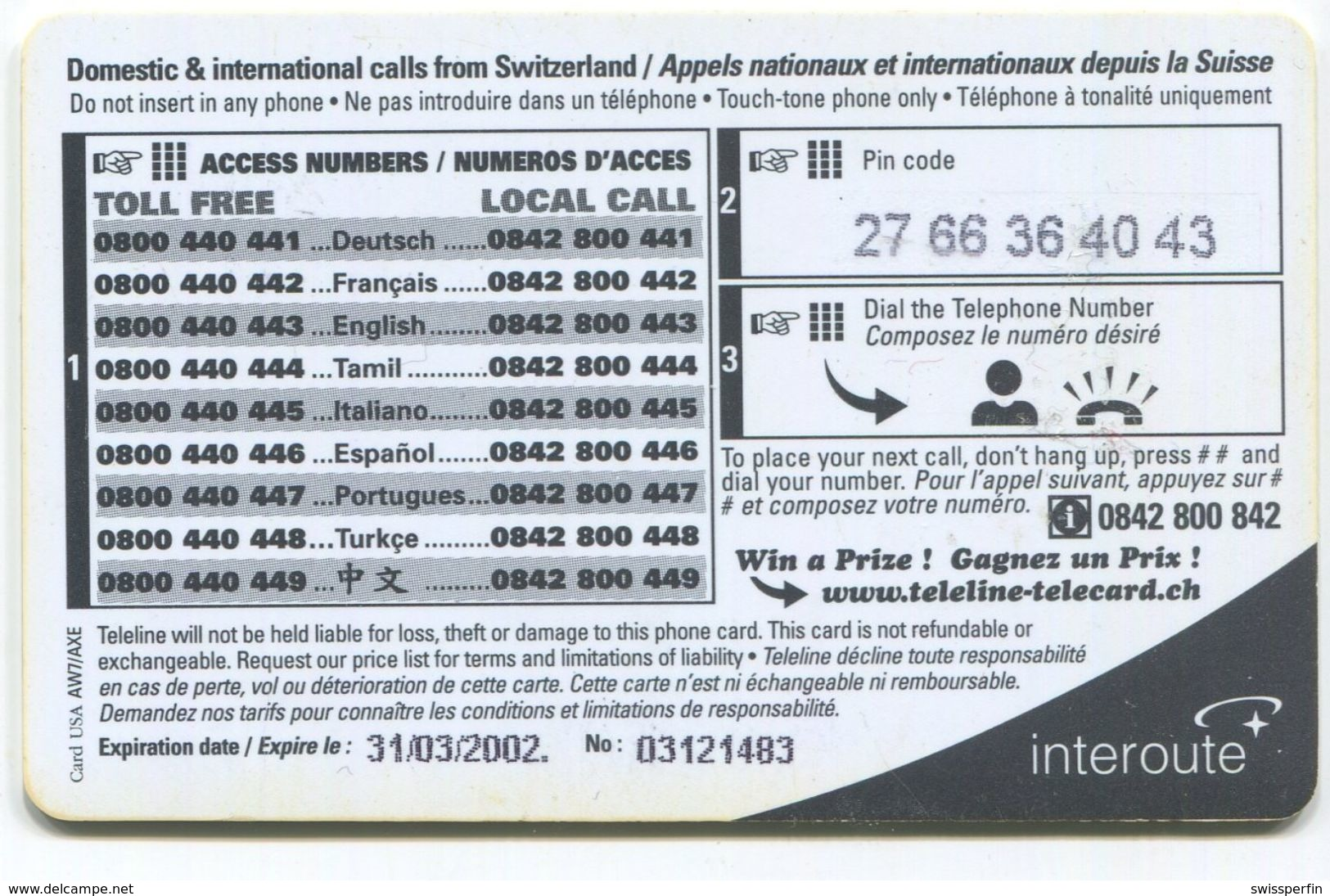 1696 - Teleline Fiesta CHF 10.- Prepaid Telefonkarte - Schweiz