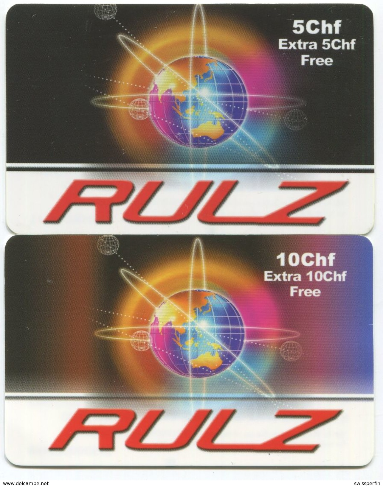 1697 - RULZ 5 + 10 CHF Prepaid Telefonkarte - Schweiz