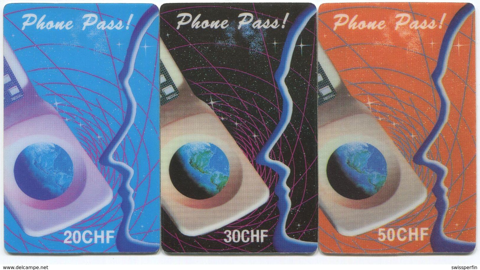 1698 - Phone Pass 20, 30 + 50 CHF Prepaid Telefonkarte - Schweiz
