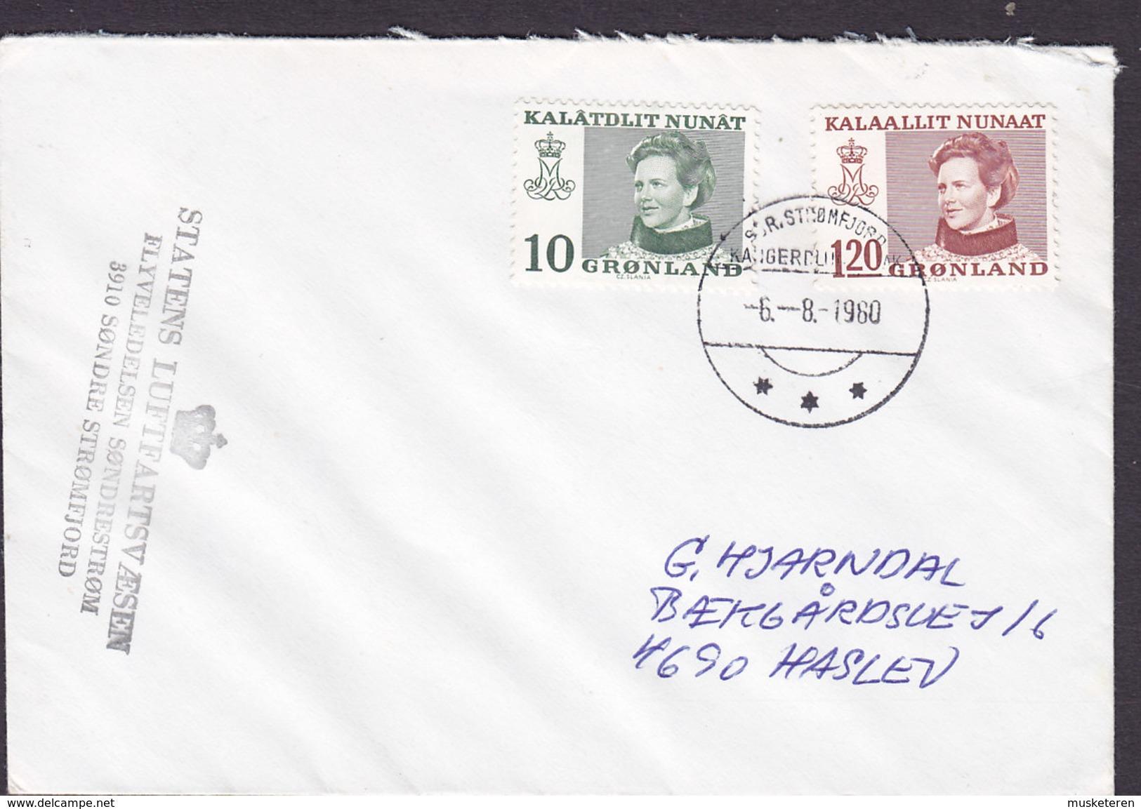 Greenlnd STATENS LUFTFARTSVÆSEN, SDR. STRØMFJORD 1980 Cover Brief HASLEV Denmark (Cz. Slania) Stamps - Groenlandia