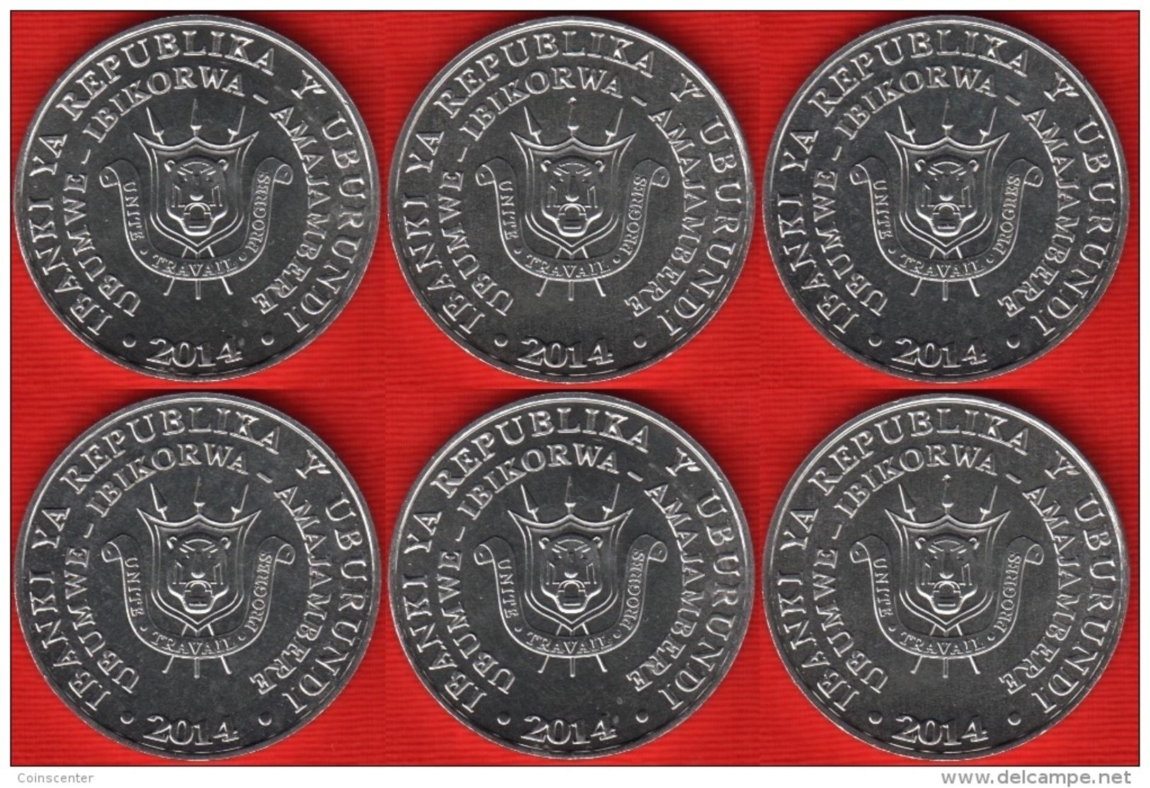 """WHOLESALE 10 Sets: Burundi Set Of 6 Coins: 5 Francs 2014 """"Birds"""" UNC - Burundi"""