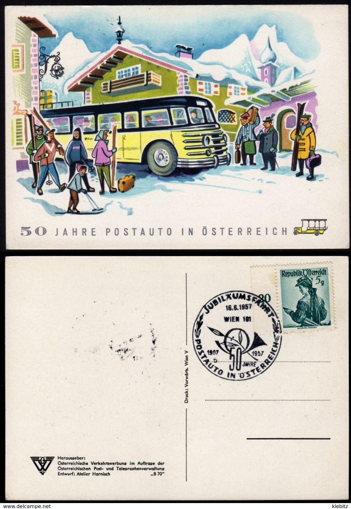 ÖSTERREICH 1957 - Jubiläumsfahrt 50 J. Postauto In Österreich - Sonderstempelkarte - Post